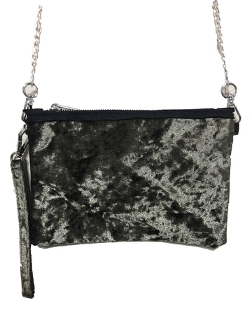 Bari Lynn Girls Green Velvet Shoulder Bag - Wristlet