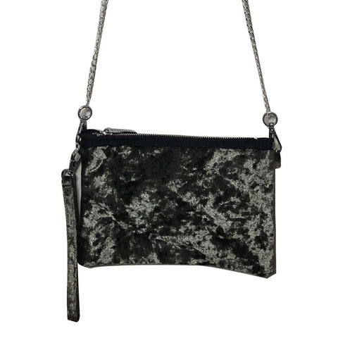 Bari Lynn Girls Black Velvet Shoulder Bag - Wristlet