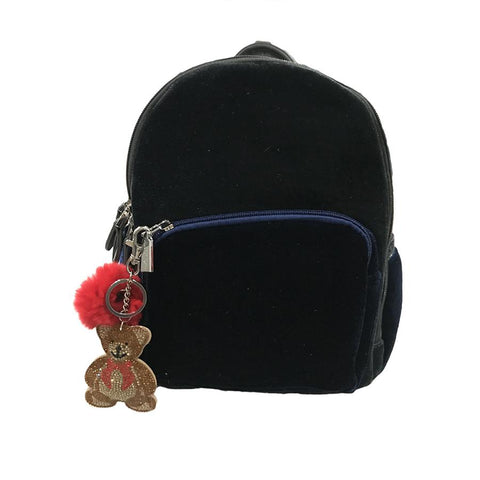 Bari Lynn Blue Velvet Mini Backpack with Crystal Bear Key Chain