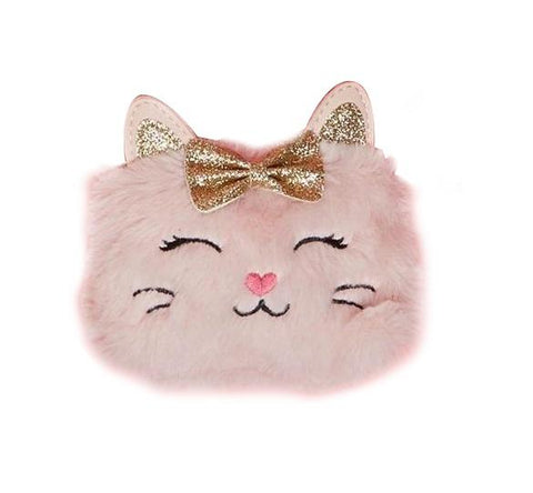 Twos Company Lil Miss Purrfect Cat with Glitter Bow Bags Pink