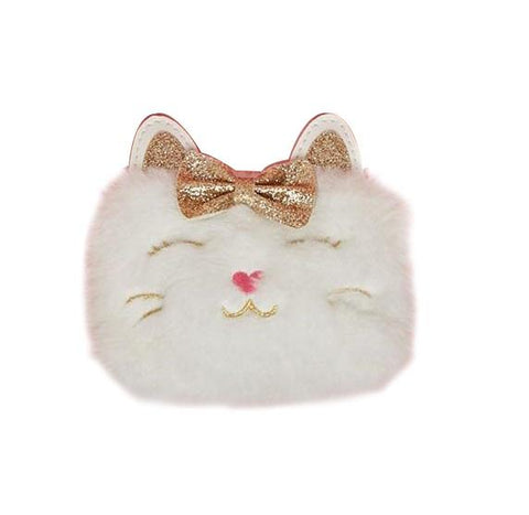Twos Company Lil Miss Purrfect Cat with Glitter Bow Bags White