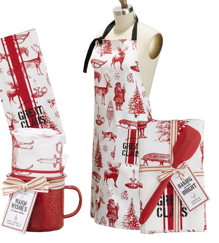 Twos Company Enamel metal cup with Dish towel and Apron - Baking for a great Claus