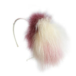 Bari Lynn Swarovski Crystal Plush-Off-White-Mauve Color Fox Fur Headband
