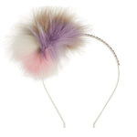 Bari Lynn Swarovski Crystal Multi-Colored Fox Fur Headband
