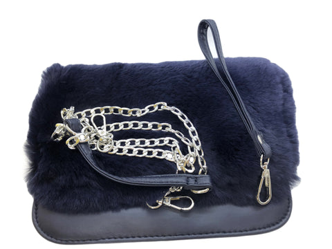 Bari Lynn Rabbit Fur Convertible Clutch - Cross Body Navy