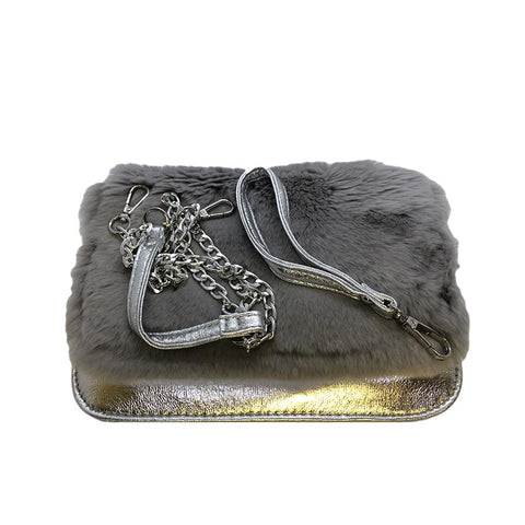 Bari Lynn Rabbit Fur Convertible Clutch - Cross Body Silver Grey