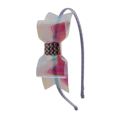 Bari Lynn Swarovski Holographic Purple Bow Headband