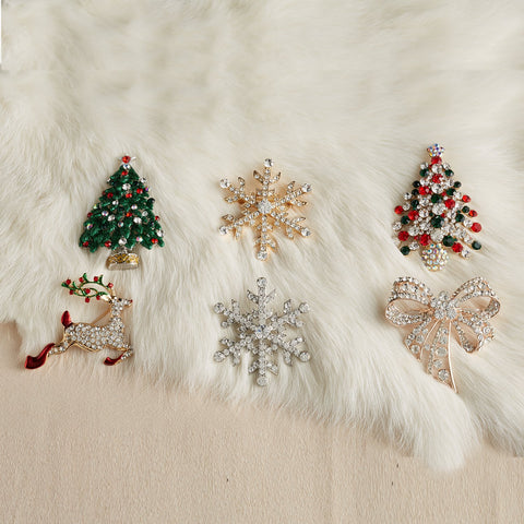 Twos Company Holiday Jeweled Lapel Pins - Brooches - Set of 2 (Christmas Tree and Gift Bow)