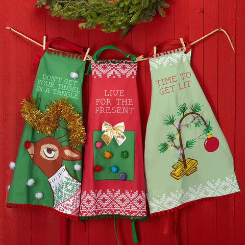 Twos Company Ugly Sweater Apron and Recipe Dish Towel Set - Live for the Present