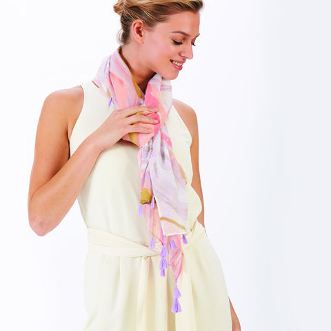 Twos Company Angel Wing Trinket and Marble Green-Pink Scarf with Tassel