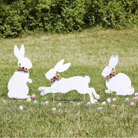 Twos Company Set Of 3 Bunny Garden Stakes Hand-Crafted