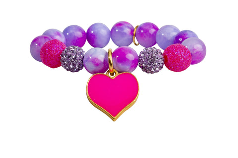 Heart Me Accessories Honolulu Honey Bracelet Hot Pink Heart Charm