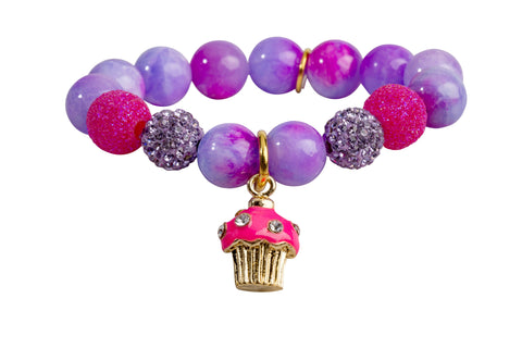 Heart Me Accessories Honolulu Honey Bracelet Hot Pink Cupcake Charm
