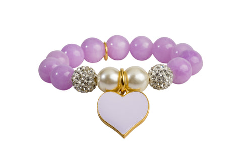 Heart Me Accessories Wisteria Bracelet Purple Heart Charm