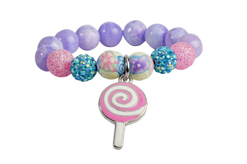 Heart Me Accessories Malibu Sunset Bracelet Pink and White Swirl lollipop Charm