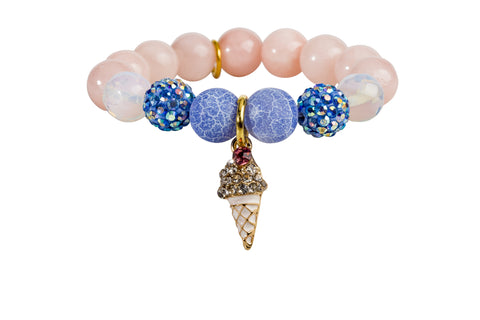 Heart Me Accessories Hampton Bays Bracelet White and Pink Ice Cream Charm