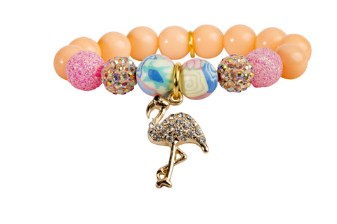 Heart Me Accessories Palm Beach Bracelet Rhinestone Flamingo Charm