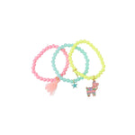 Heart Me Accessories Sets of 3 llama Yellow,pink and Blue Charm Bracelets
