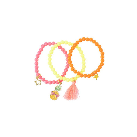 Heart Me Accessories Sets of 3 Pineapple Pink, yellow and Orange Charm Bracelets