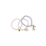 Heart Me Accessories Sets of 3 Light Pink, Purple and white Unicorn Charm Bracelets