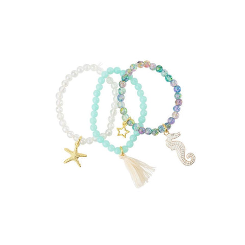 Heart Me Accessories Sets of 3 White, turquoise Seahorse and Starfish Charm Bracelets