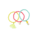 Heart Me Accessories Sets of 3 White, Turqouise, Hot pink and Yellow Rainbow Star Charm Bracelets
