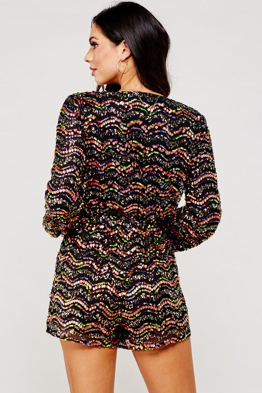 Colorful Sequin Long Sleeve Romper- Your Style Clothing