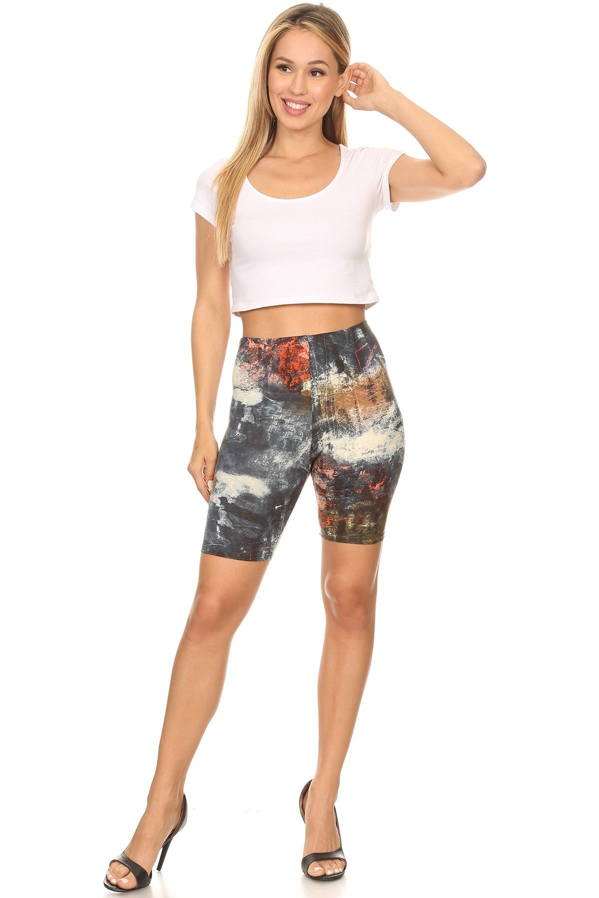 Tie Dye Biker Shorts black High Elastic Waist- Your Style Clothing