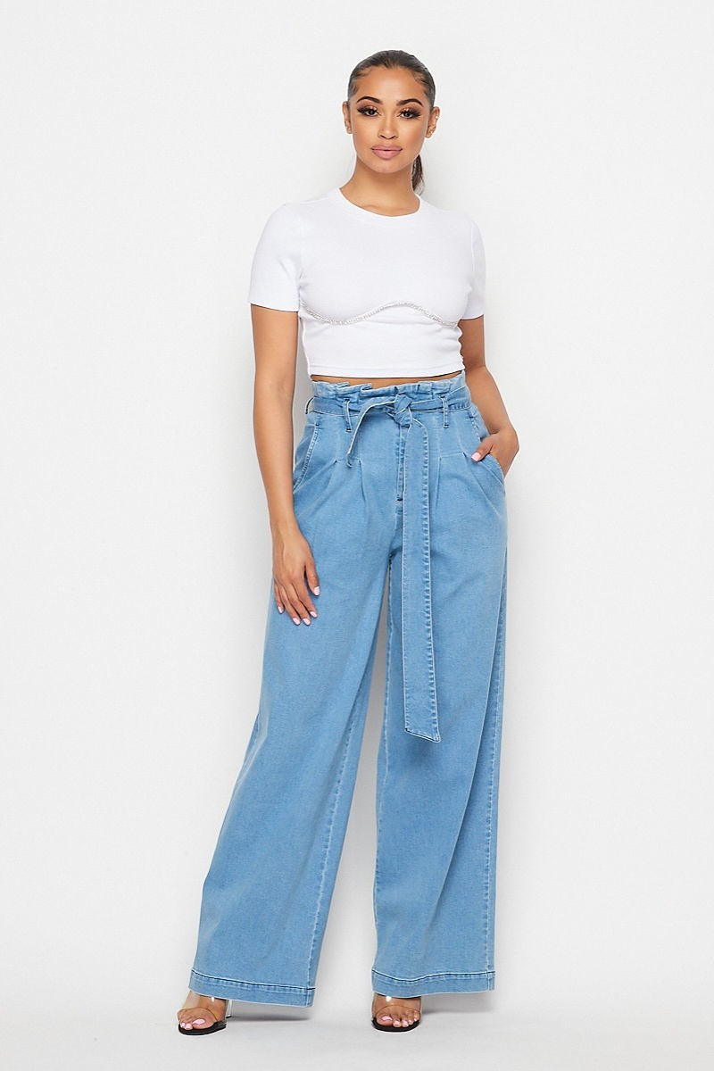 Palazzo Denim High Rise Wide Leg Pants- Your Style Clothing