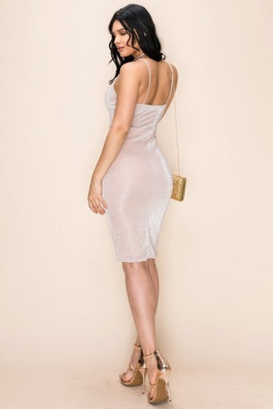 Glitter Shiny Stretch Midi Dress Spaghetti Straps Knee length- Your Style Clothing
