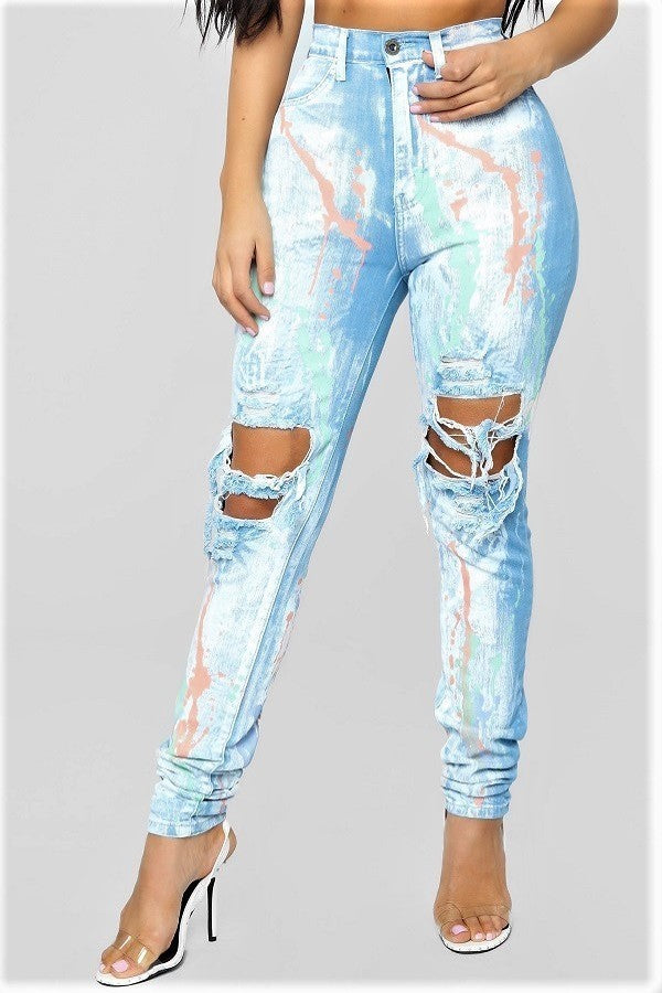Paintbrush High Waist Skinny Ripped Jeans- Your Style Clothing