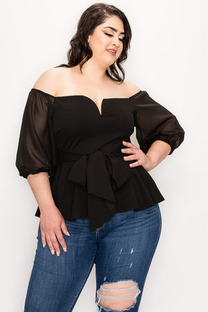 Regal Off the Shoulder Plus Size Belted Top | Your Style Clothing