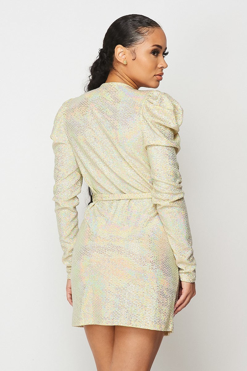 Sequin Wrap Mini Dress- Your Style Clothing