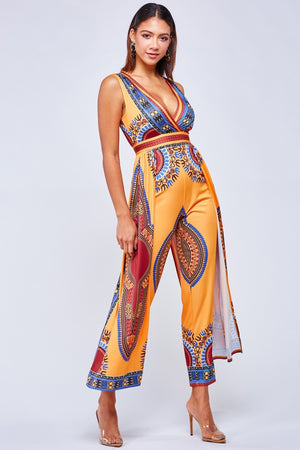 Aztec Tribal Indian Print Jumpsuit Plus Size- Your Style Clothing