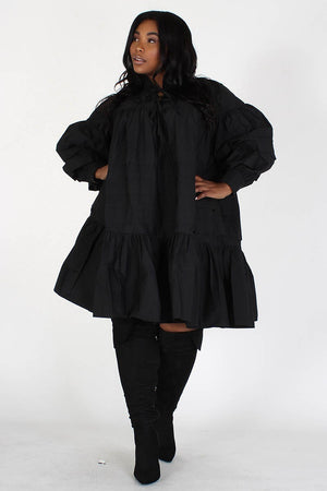 Modestly Cute Mock Neck Ruffle Dress Black- Your Style Clothing