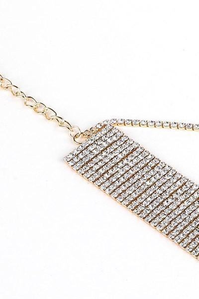 Rhinestone Choker Necklace With Backdrop