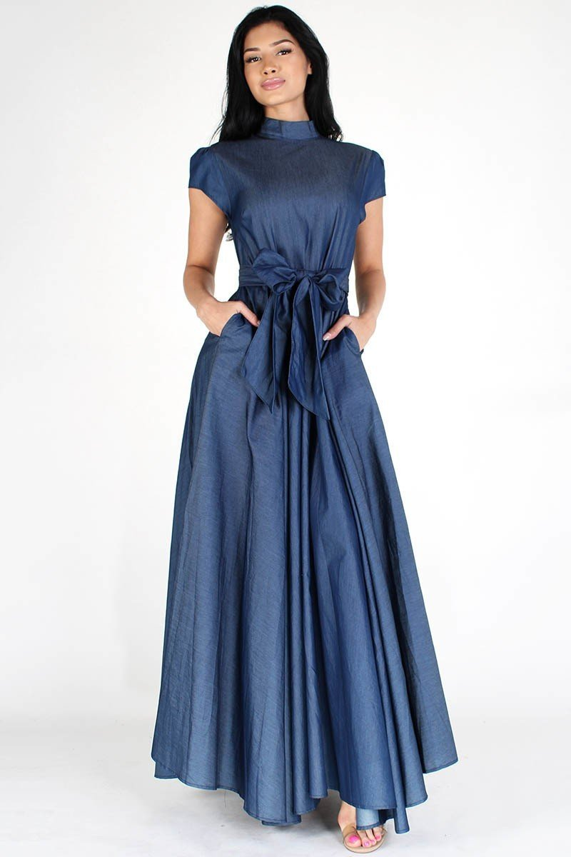 Modest Denim Flare Maxi Skirt Dress