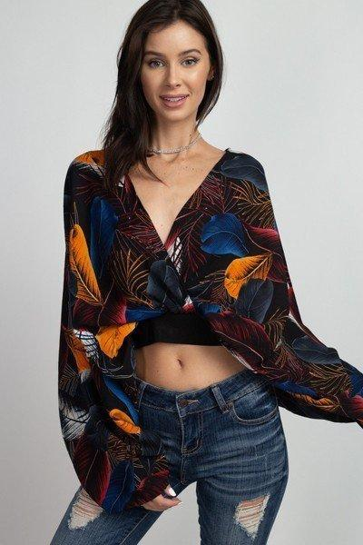 Bat Sleeve V-Neck Crop Top