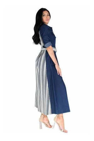 Denim Maxi Dress With Belt/Pockets