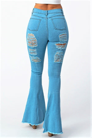 High Waist Bell Bottom Flare Distress Denim Jeans- Your Style Clothing