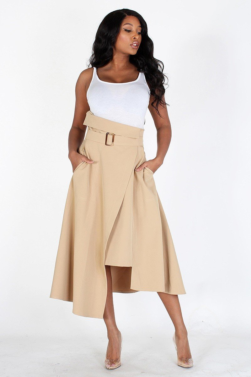 High WaistAsymmetrical Wrap Skirt Wrap Front Beige- Your Style Clothing