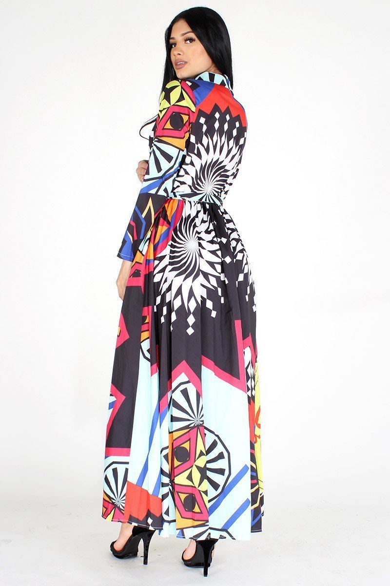 Multi-Color Button Up Maxi Dress