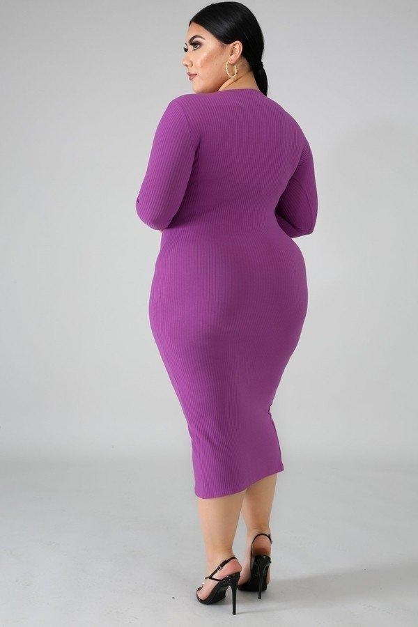 Knit Plus Size Midi Body Con Dress