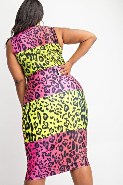 Leopard Glow Midi Plus Size Multi-Color Dress-Your Style Clothing