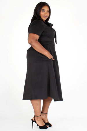 Modest Plus Size Bow Tie DressModest Plus Size Bow Tie Dress, black tie around the neck side, side pockets- Your Style Clothing