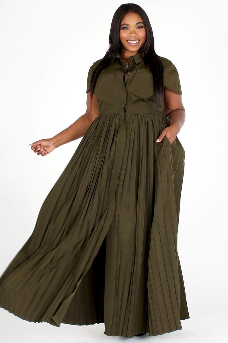 Pleated Button Front Long Maxi Dress