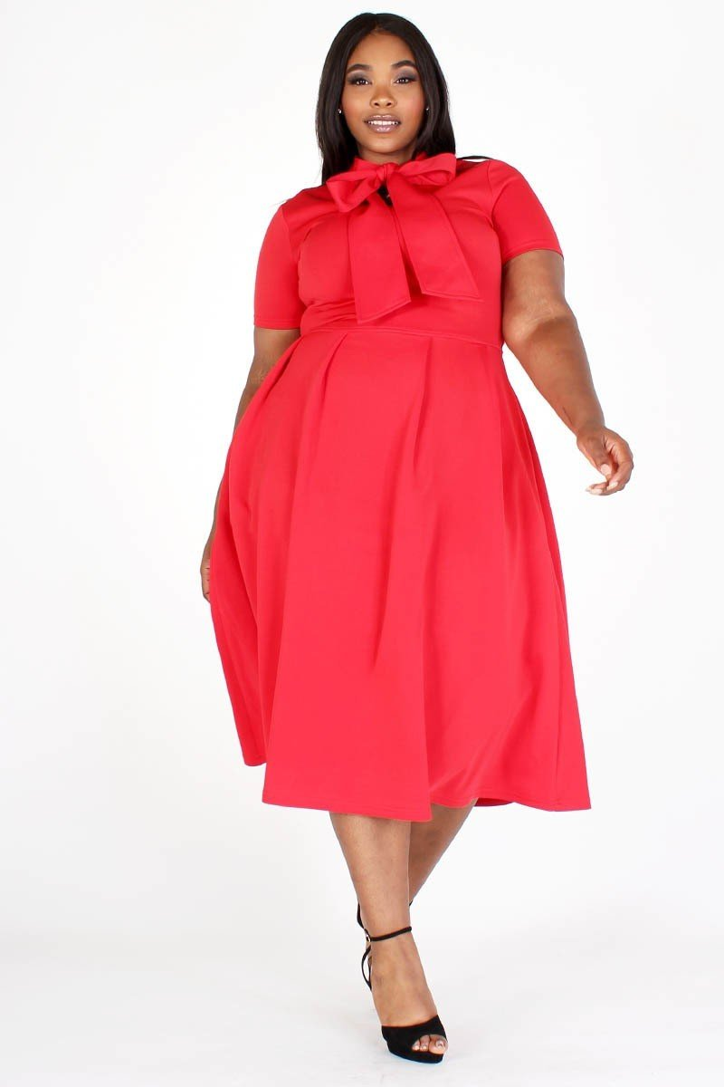 Modest Plus Size Bow Tie Dress, red tie around the neck side, side pockets- Your Style Clothing