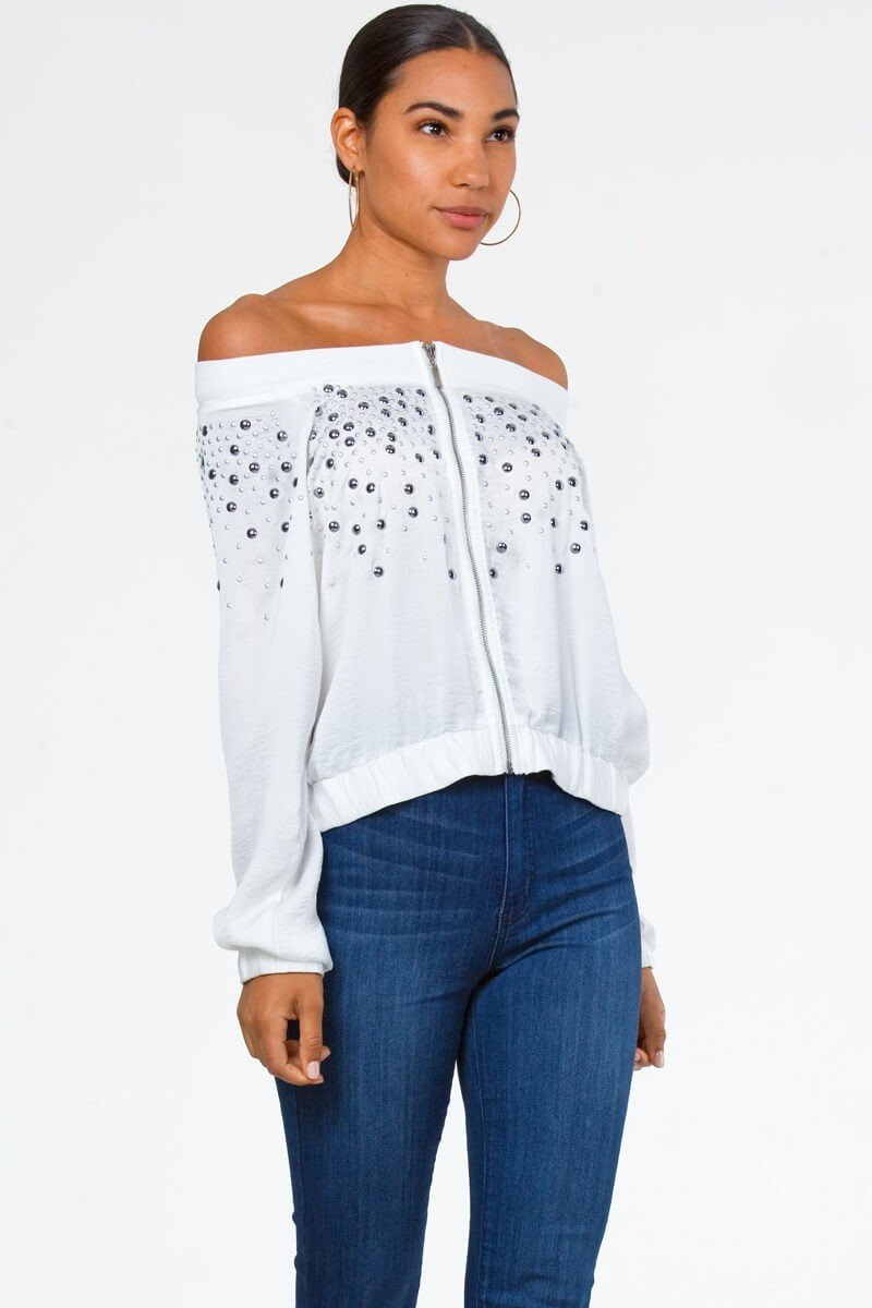 Faux Silk Studded Bomber Jacket
