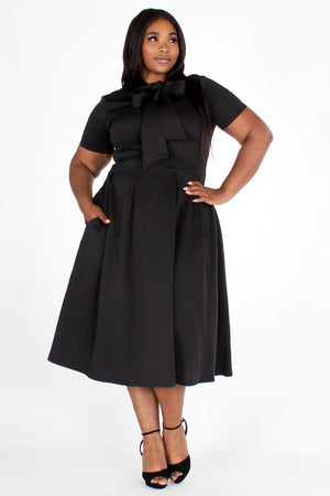 Modest Plus Size Bow Tie Dress, black tie around the neck side, side pockets- Your Style Clothing