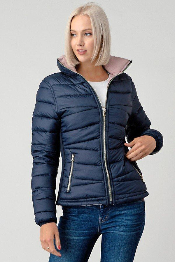 Reversible Double Sided Puffer Jacket Navy blue pink- Your Style Clothing